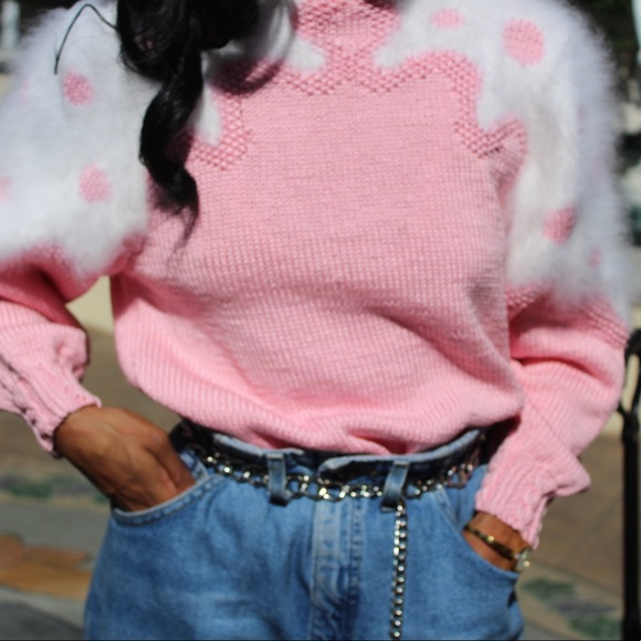 61b13b15e33 Sweaters | Sold On Depop Pink Sweater With Fuzzy Detail | Poshmark